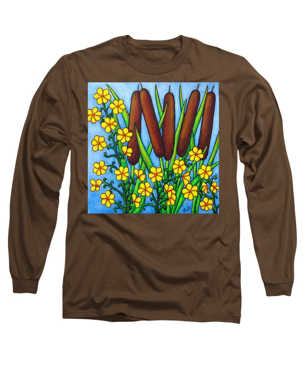 Cat Tails Long Sleeve T-Shirt featuring the painting Wild Medley by Lisa Lorenz