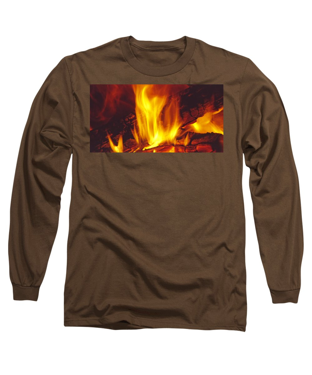 Fire Long Sleeve T-Shirt featuring the photograph Wood Stove - Blazing Log Fire by Steve Ohlsen