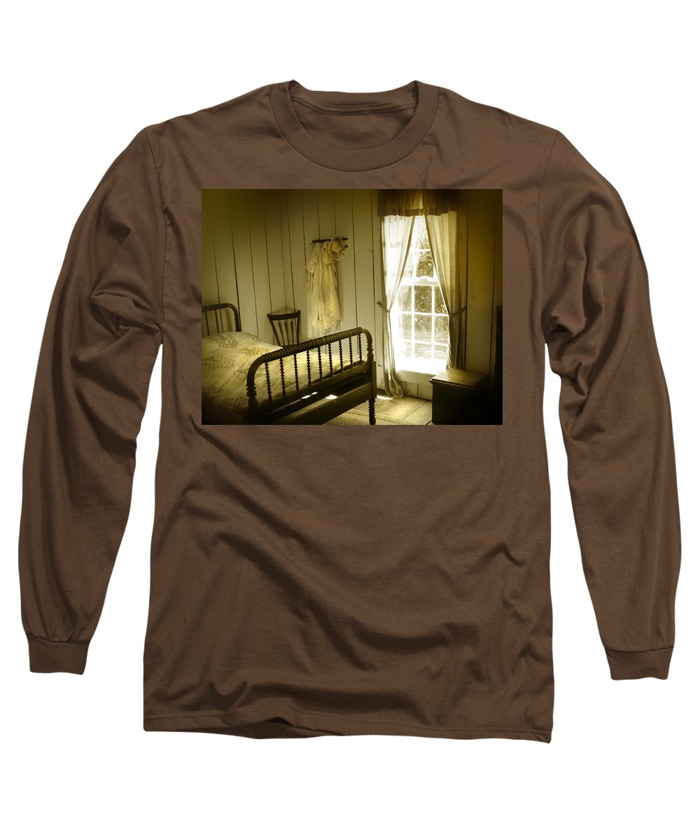 Bedroom Long Sleeve T-Shirt featuring the photograph Yellow Bedroom Light by Mal Bray