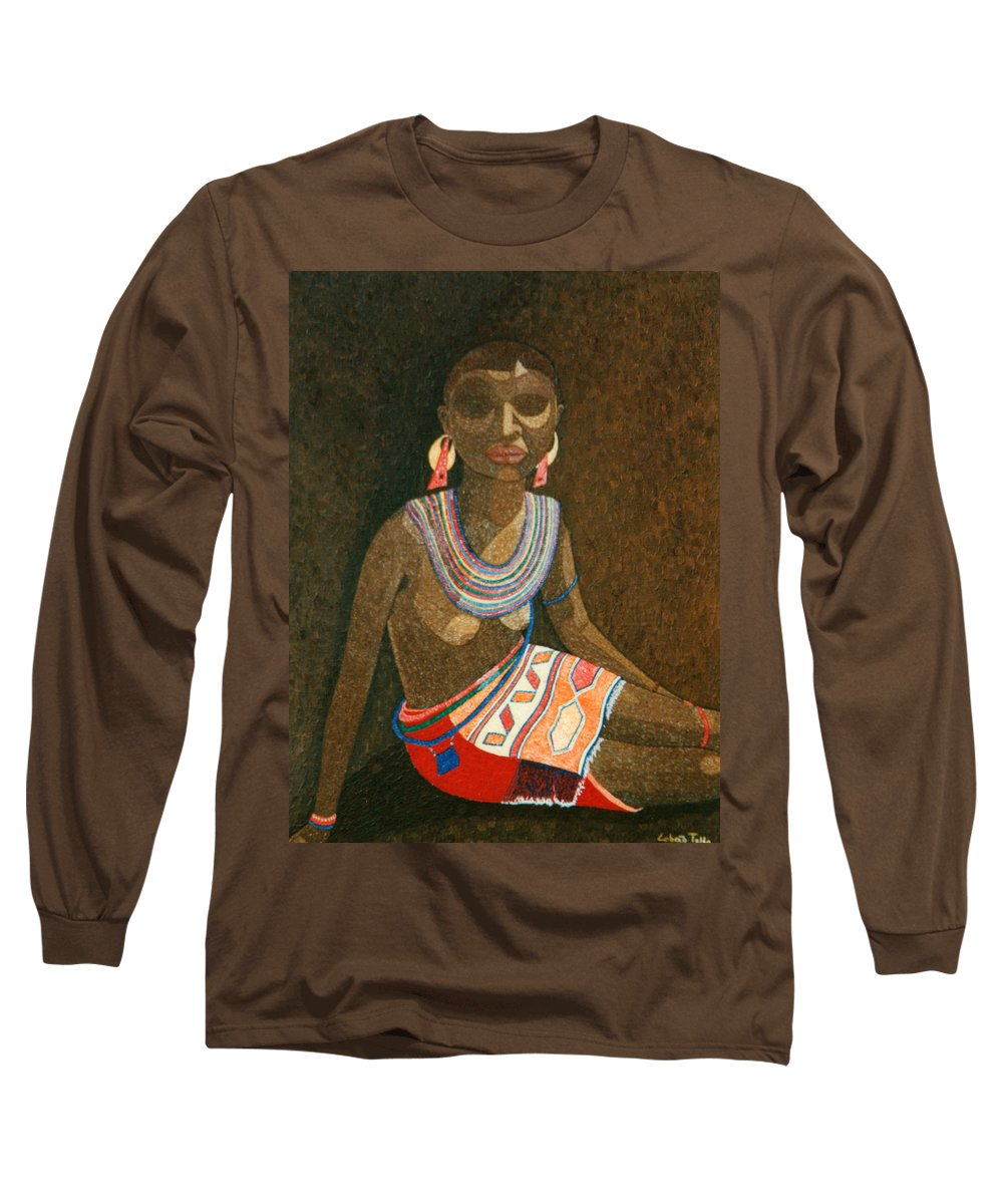 Zulu Woman Long Sleeve T-Shirt featuring the painting Zulu Woman With Beads by Madalena Lobao-Tello