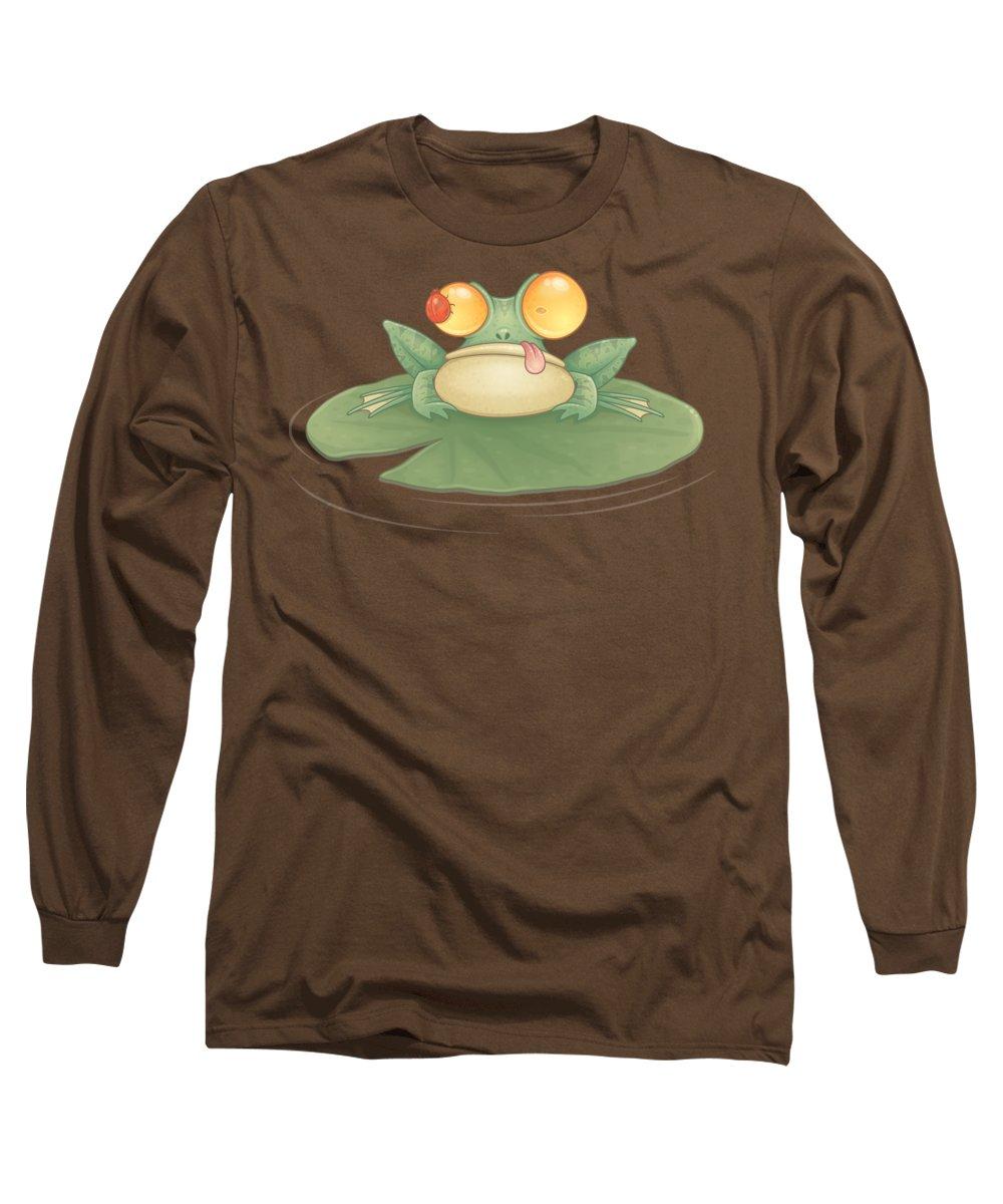 Frog Long Sleeve T-Shirt featuring the digital art Swamp Snack by John Schwegel