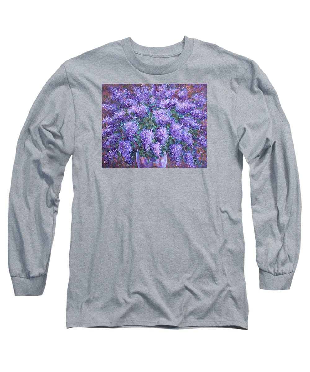 Flowers Long Sleeve T-Shirt featuring the painting Scented Lilacs Bouquet by Natalie Holland