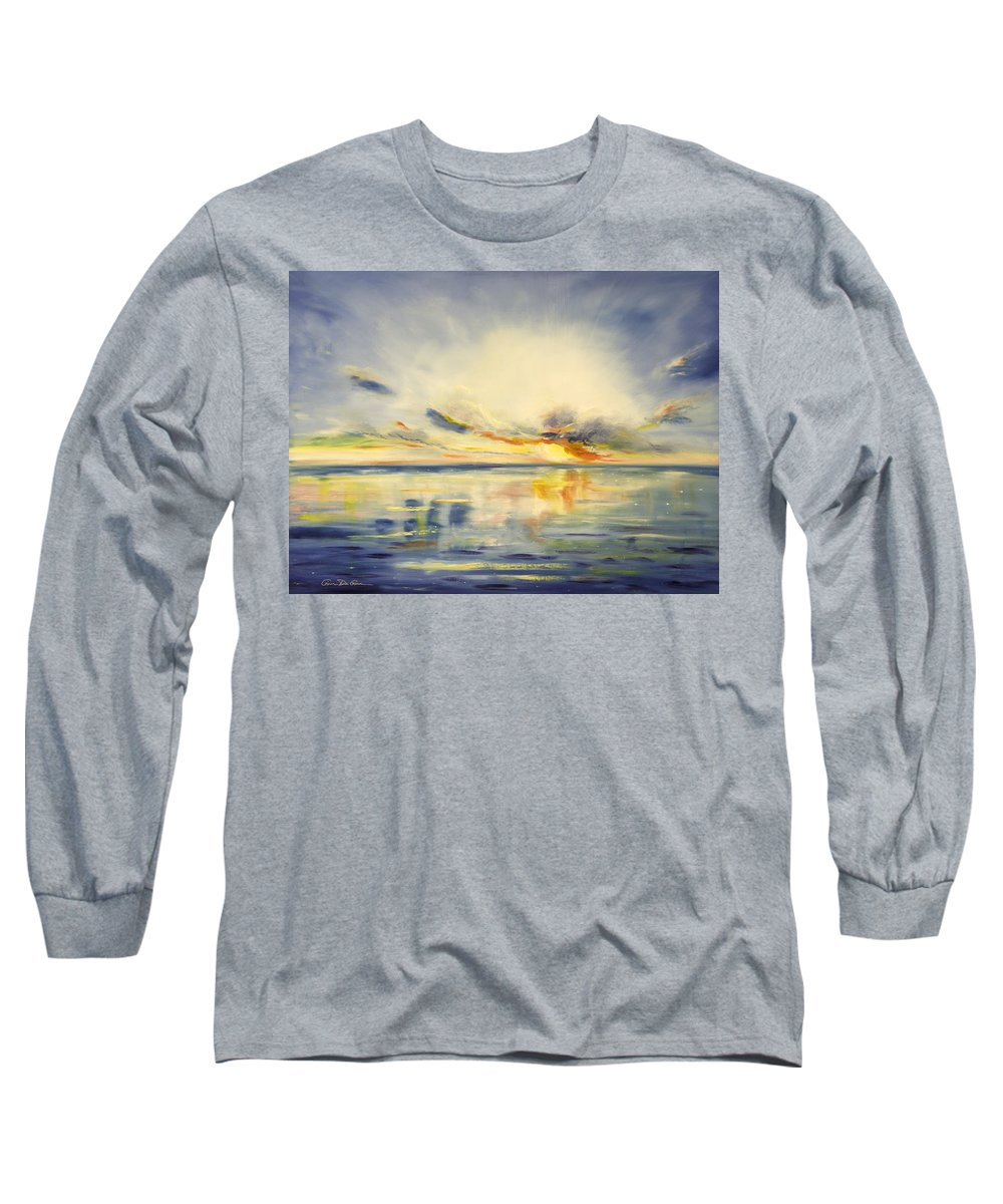 Blue Long Sleeve T-Shirt featuring the painting Blue Sunset by Gina De Gorna