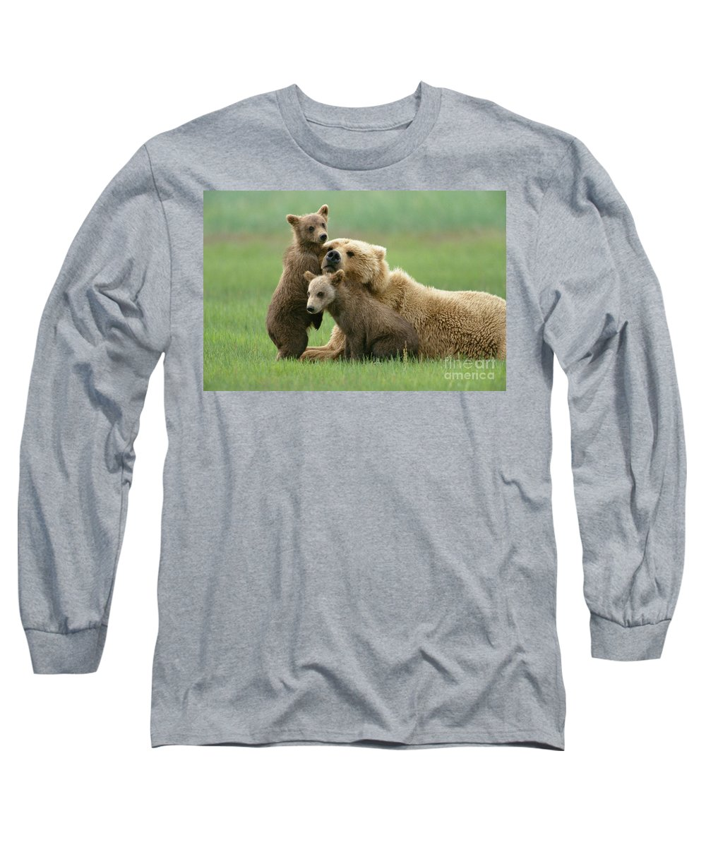 00345263 Long Sleeve T-Shirt featuring the photograph Grizzly Cubs Play With Mom by Yva Momatiuk John Eastcott