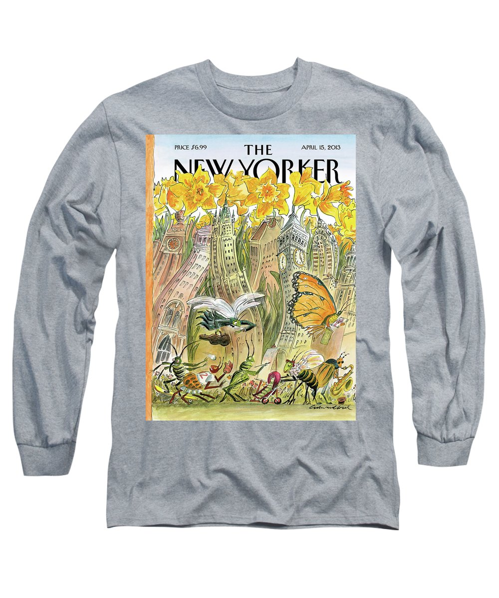 Blossom Time Long Sleeve T-Shirt featuring the painting Blossom Time by Edward Sorel