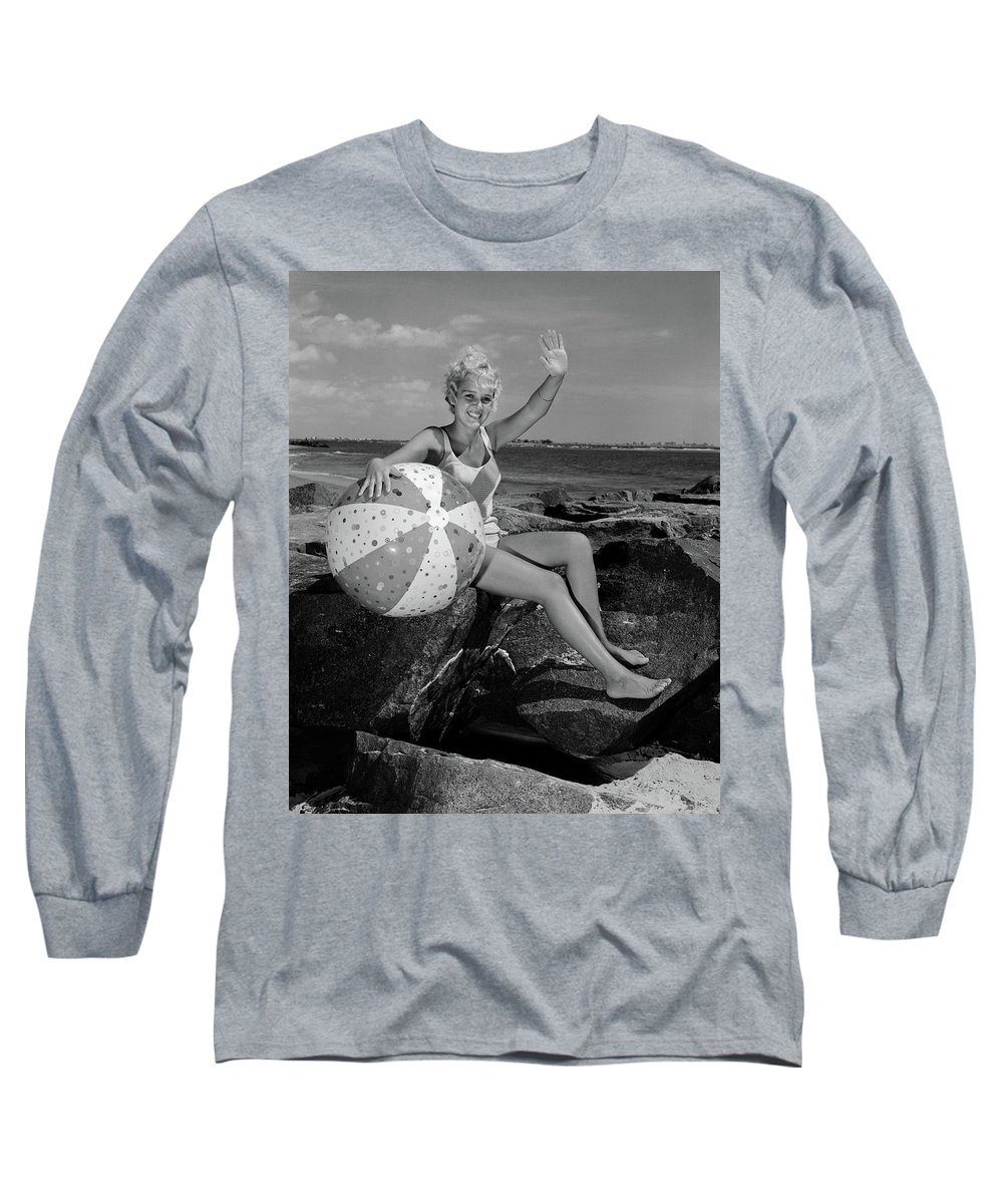 Photography Long Sleeve T-Shirt featuring the photograph 1960s Smiling Blond Teenage Girl by Vintage Images