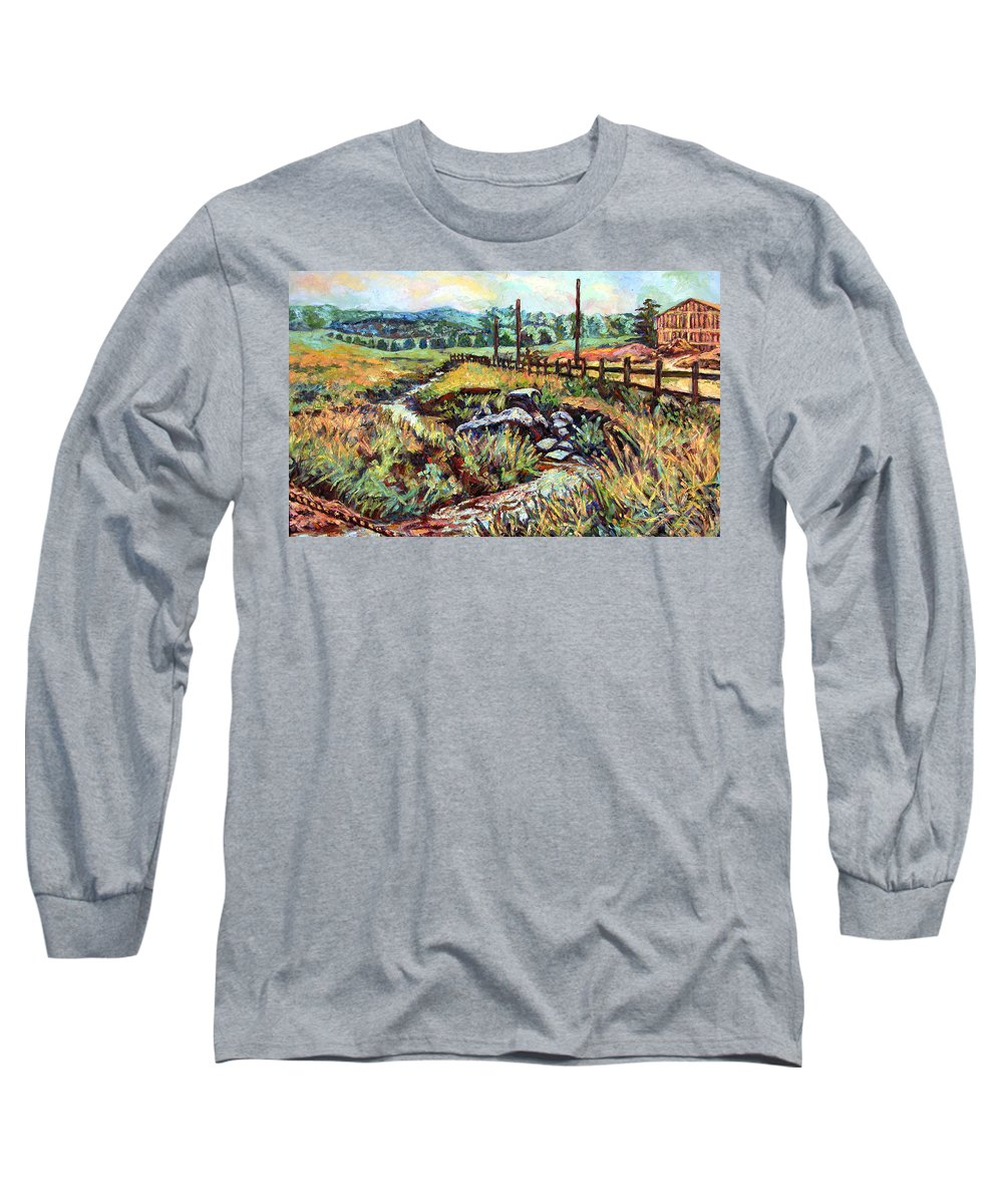 Landscape Paintings Long Sleeve T-Shirt featuring the painting Stroubles Creek by Kendall Kessler