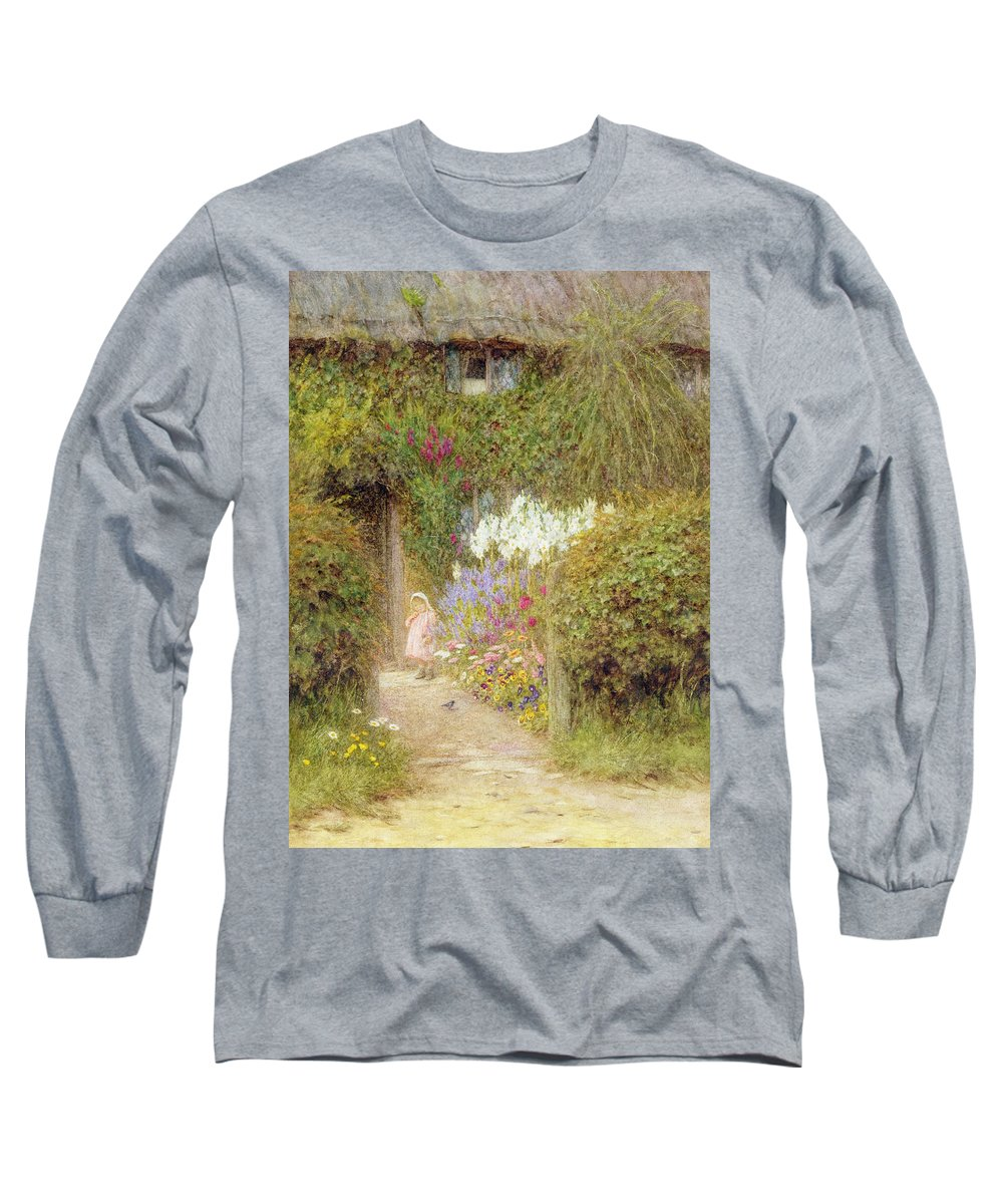 Garden Long Sleeve T-Shirt featuring the painting A Cottage At Redlynch by Helen Allingham