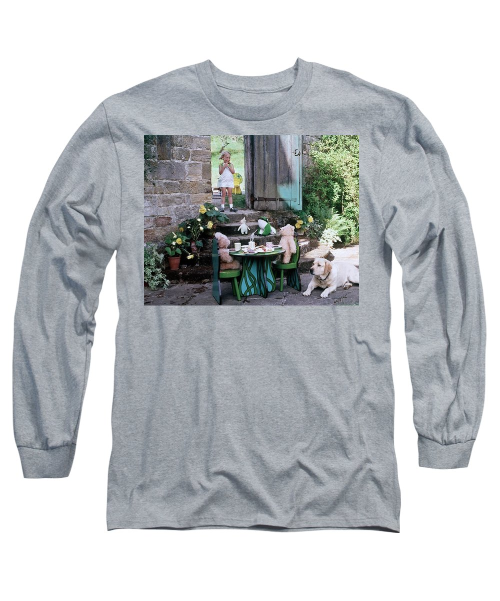 Children Long Sleeve T-Shirt featuring the photograph A Dog Sitting Next To Two Teddy Bears Having by Ernst Beadle