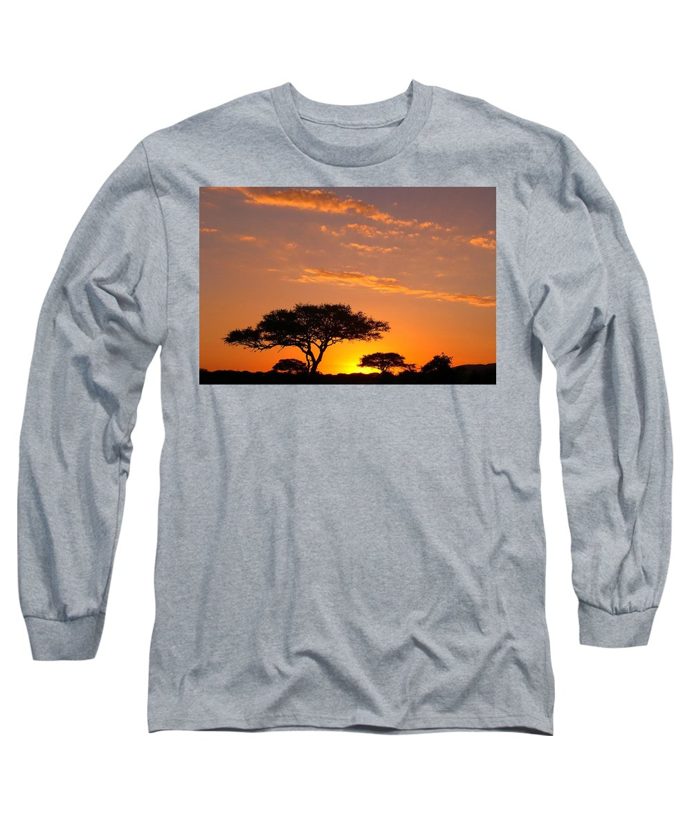 Africa Long Sleeve T-Shirt featuring the photograph African Sunset by Sebastian Musial