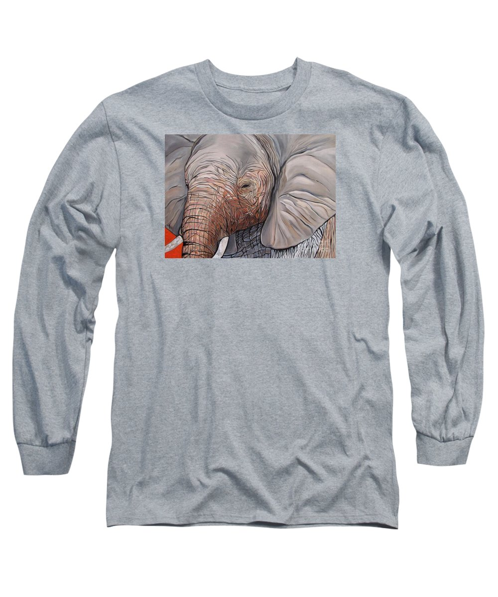 Elephant Bull Painting Long Sleeve T-Shirt featuring the painting Are You There by Aimee Vance