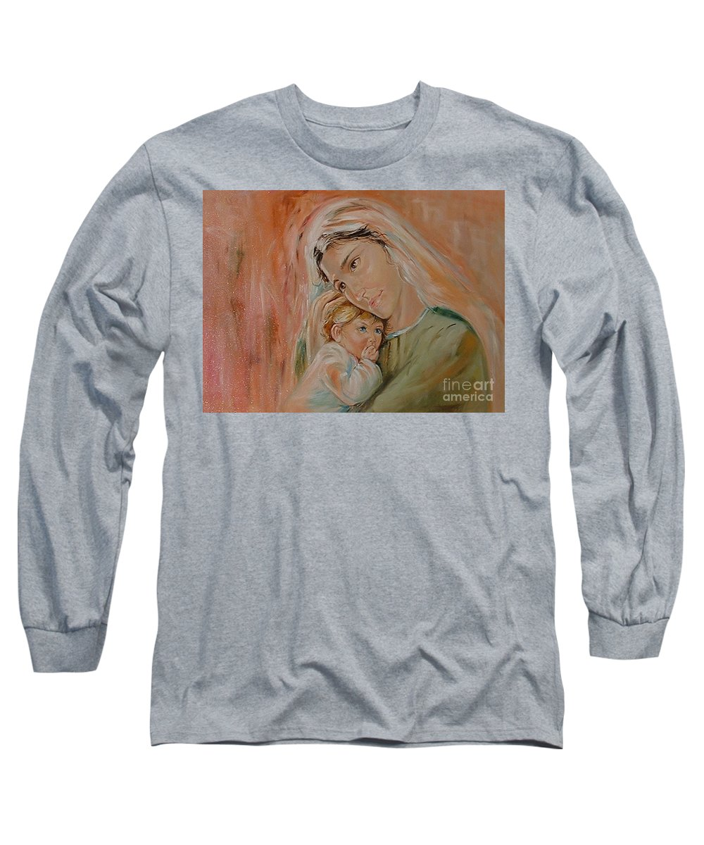 Classic Art Long Sleeve T-Shirt featuring the painting Ave Maria by Silvana Abel