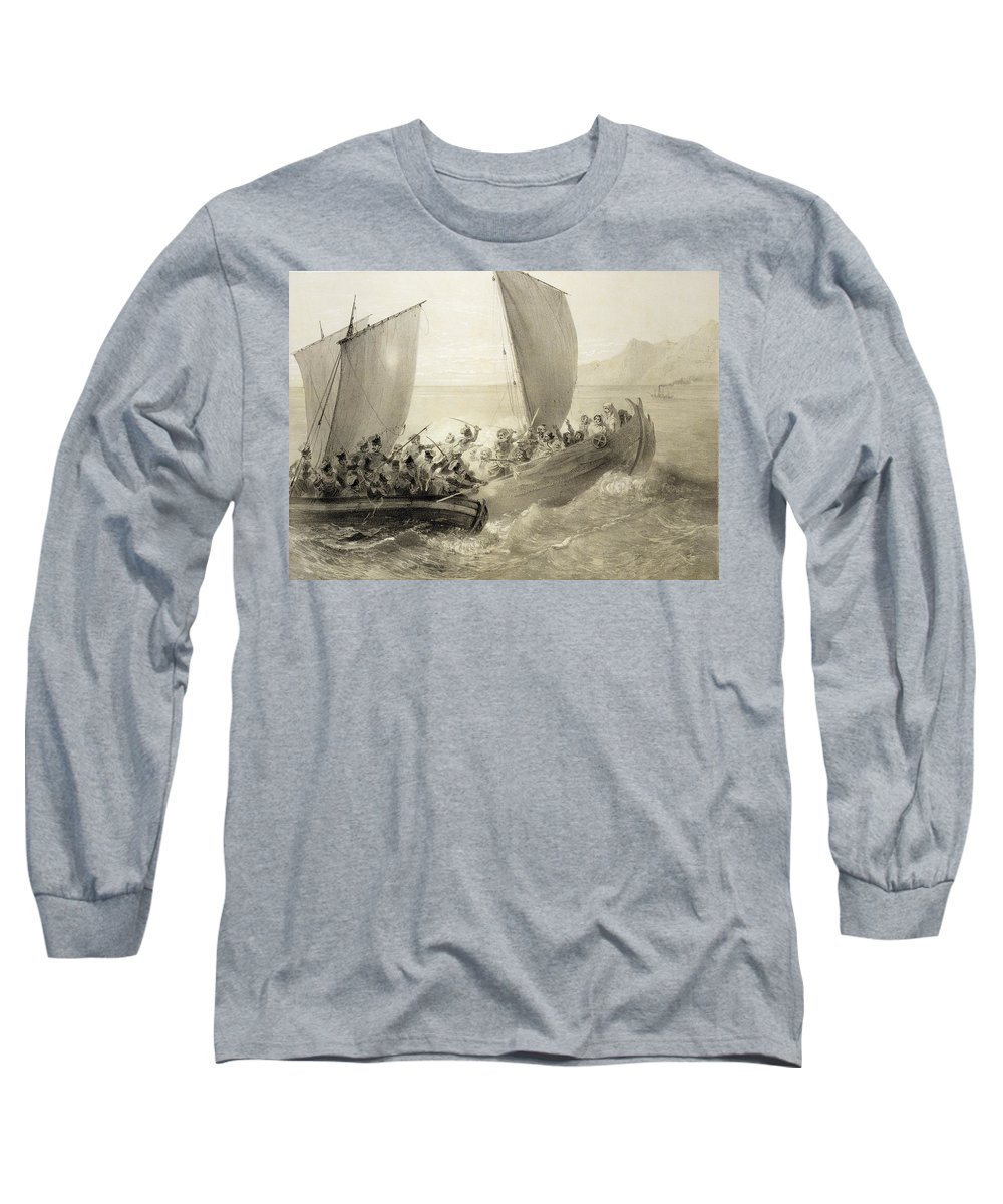 Soldiers Long Sleeve T-Shirt featuring the drawing Azov Cossacks Boarding A Turkish Corsair by Grigori Grigorevich Gagarin