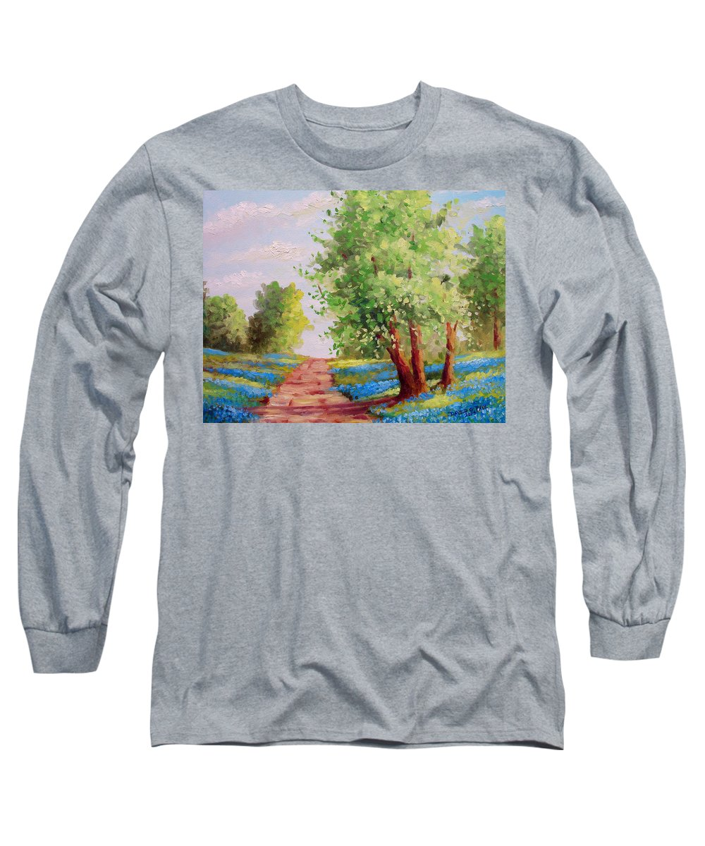 Bluebonnets Long Sleeve T-Shirt featuring the painting Backroad Bluebonnets by David G Paul