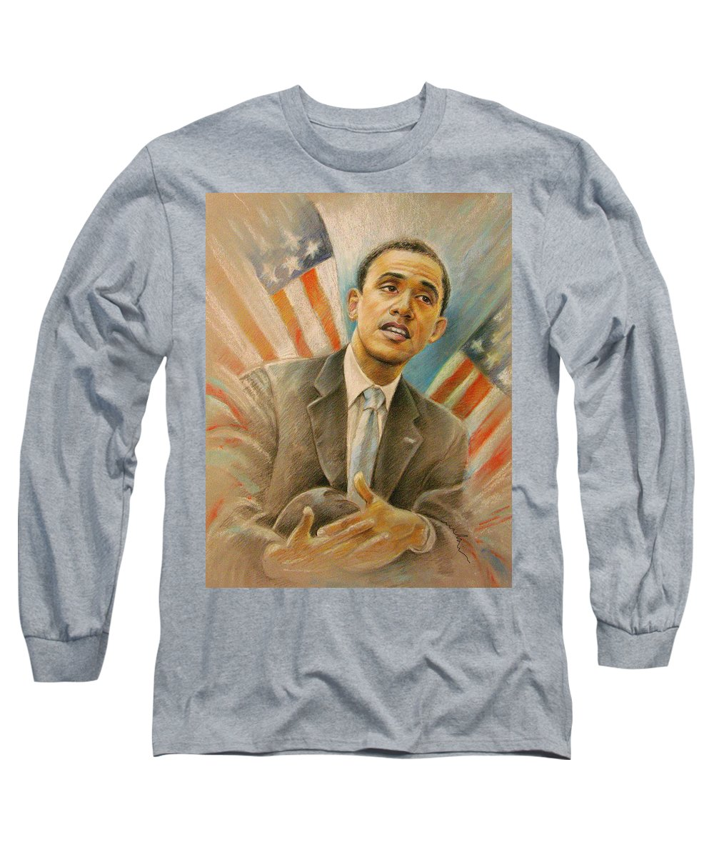Barack Obama Portrait Long Sleeve T-Shirt featuring the painting Barack Obama Taking It Easy by Miki De Goodaboom