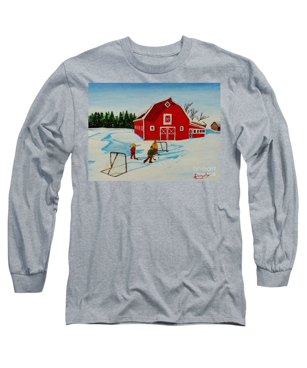Hockey Long Sleeve T-Shirt featuring the painting Barn Yard Hockey by Anthony Dunphy