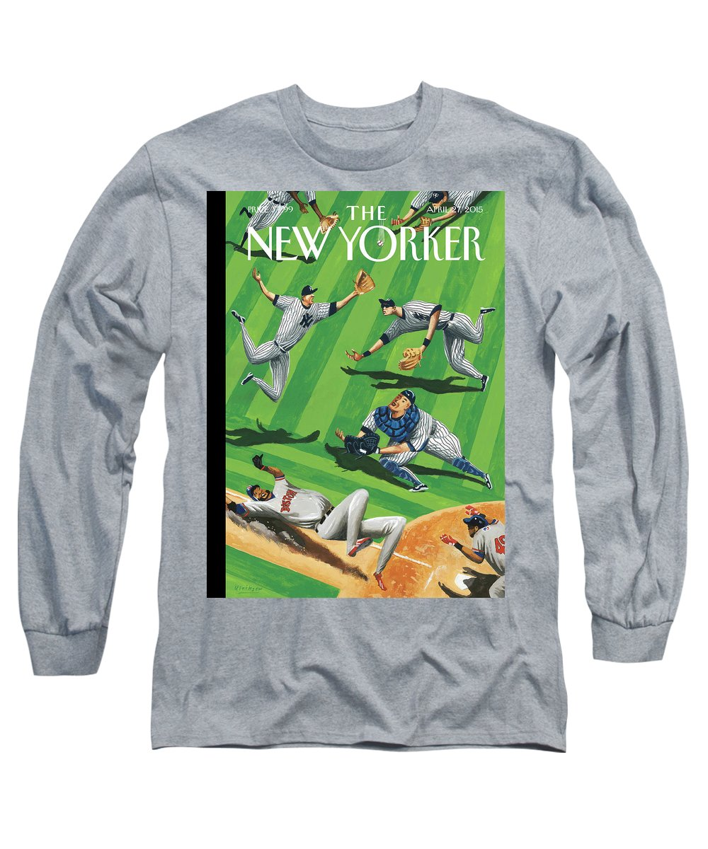 Yankees Long Sleeve T-Shirt featuring the painting Baseball Ballet by Mark Ulriksen
