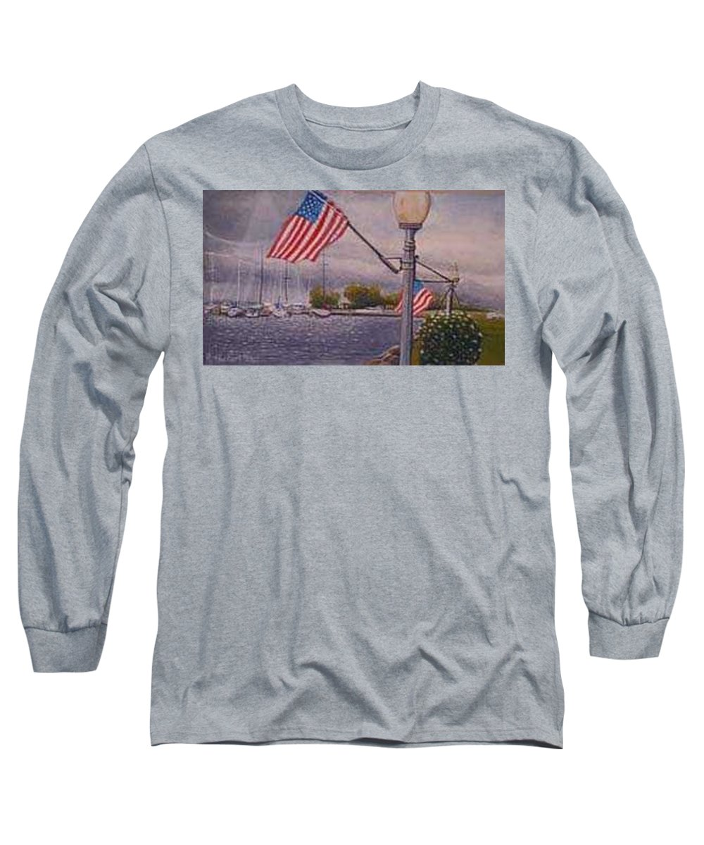 Rick Huotari Long Sleeve T-Shirt featuring the painting Bayfield On The 4th by Rick Huotari