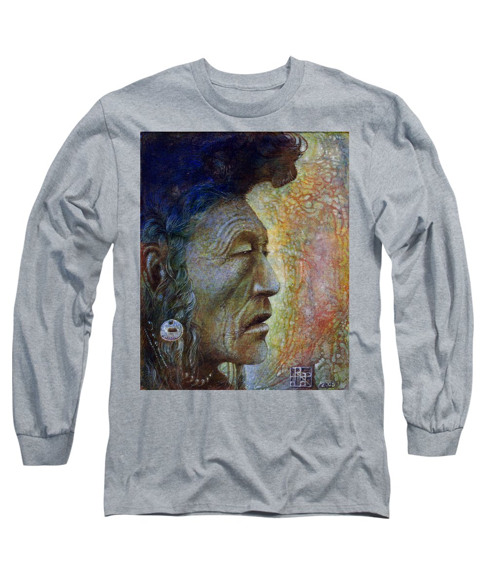 Bear Bull Long Sleeve T-Shirt featuring the painting Bear Bull Shaman by Otto Rapp