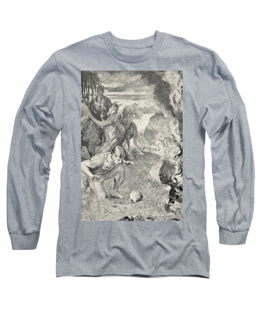 Beowulf Long Sleeve T-Shirt featuring the drawing Beowulf Finds The Head Of Aschere by John Henry Frederick Bacon