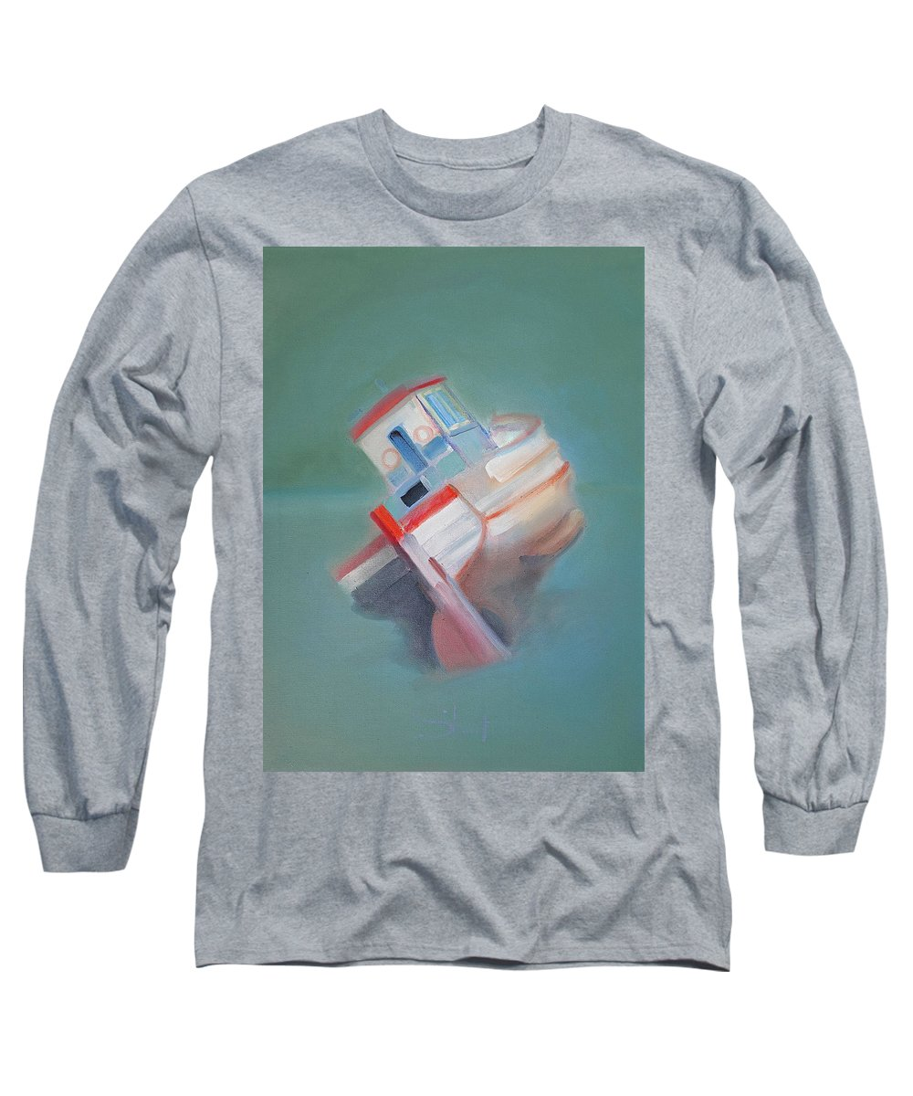 Fishing Boat Long Sleeve T-Shirt featuring the painting Boat Retired Tavira by Charles Stuart
