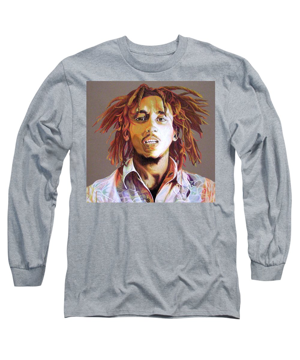 Bob Marley Long Sleeve T-Shirt featuring the drawing Bob Marley Earth Tones by Joshua Morton