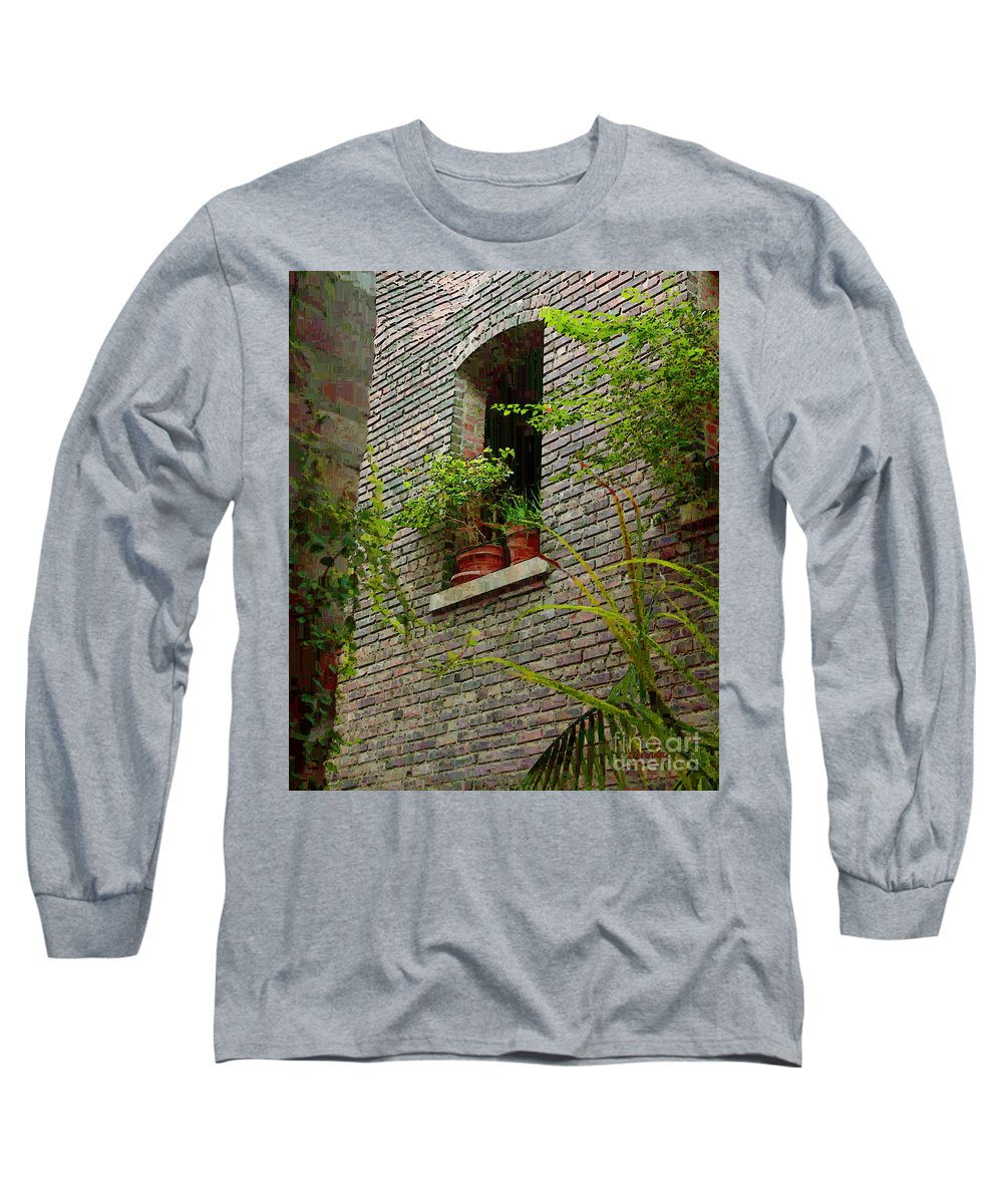 Window Long Sleeve T-Shirt featuring the painting Brick With Greenery by RC DeWinter