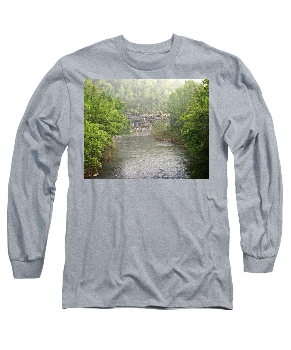 Buffalo National River Long Sleeve T-Shirt featuring the photograph Buffalo River Mist Horizontal by Marty Koch