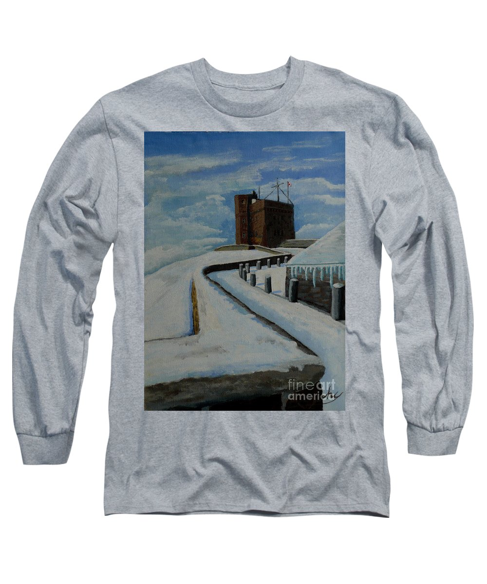 Landscape Long Sleeve T-Shirt featuring the painting Cabot Tower Newfoundland by Anthony Dunphy