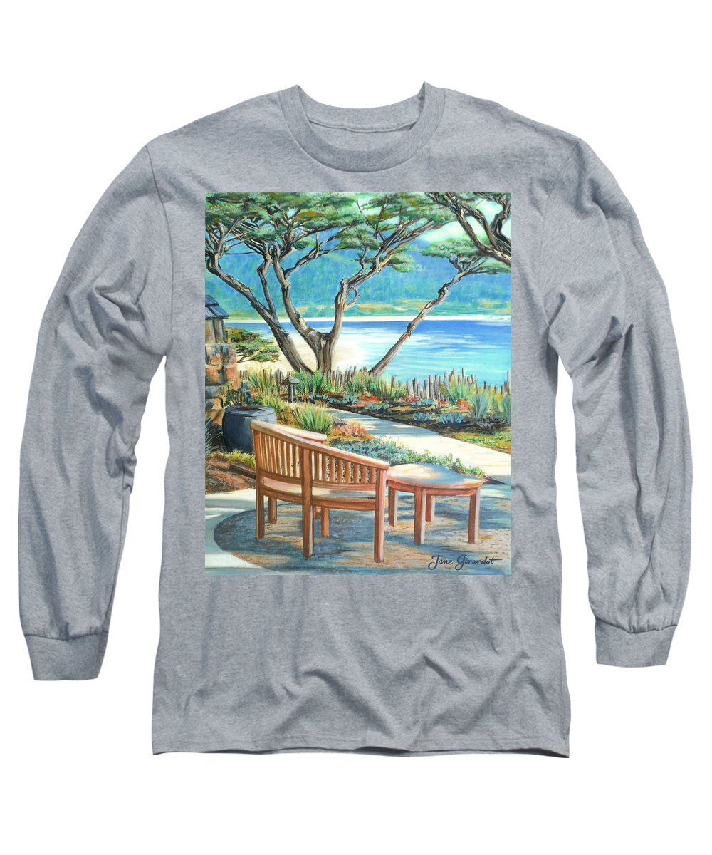 Carmel Long Sleeve T-Shirt featuring the painting Carmel Lagoon View by Jane Girardot