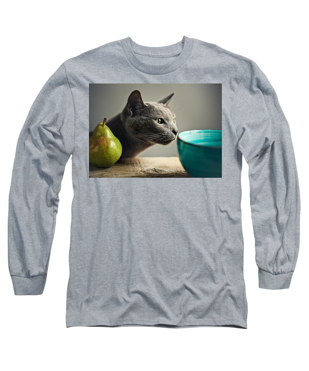 Cat Long Sleeve T-Shirt featuring the photograph Cat And Pears by Nailia Schwarz