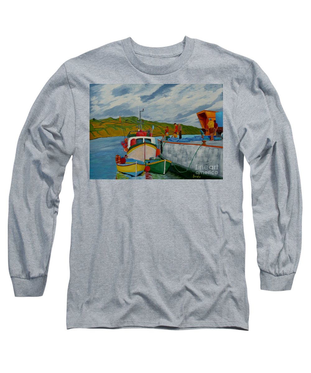 Boats Long Sleeve T-Shirt featuring the painting Catch Of The Day by Anthony Dunphy