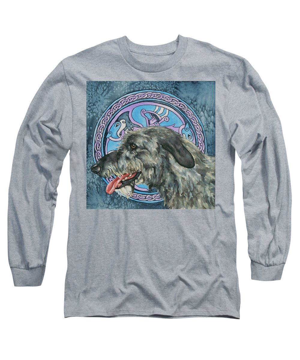 Celtic Long Sleeve T-Shirt featuring the painting Celtic Hound by Beth Clark-McDonal