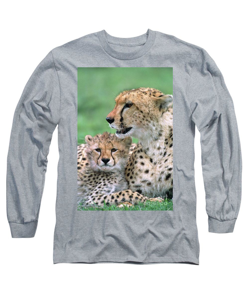 00345036 Long Sleeve T-Shirt featuring the photograph Cheetah Mother And Cub by Yva Momatiuk John Eastcott