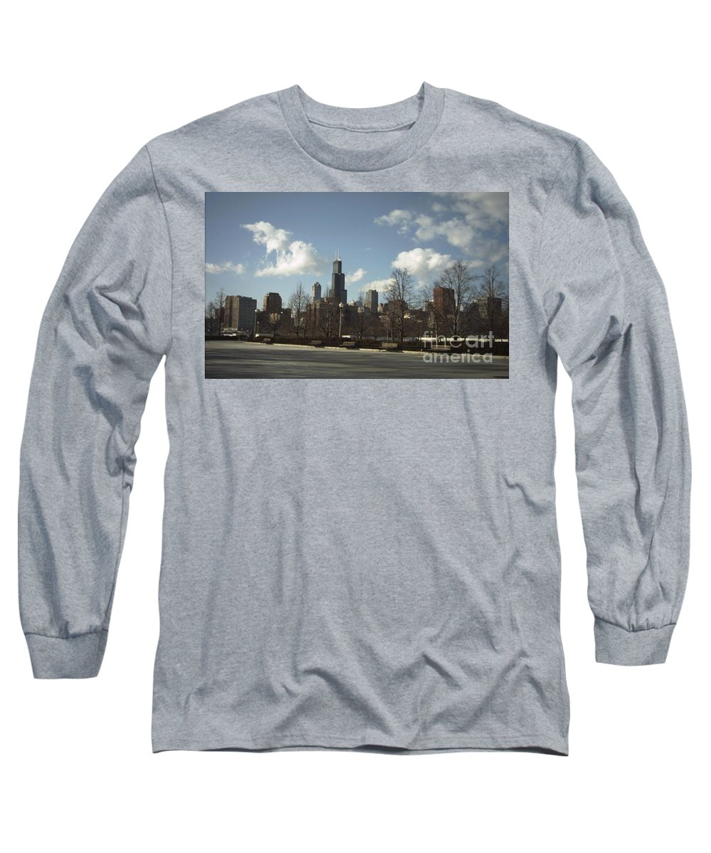 Chicago Skyline Long Sleeve T-Shirt featuring the photograph Chicago Skyline Postcard by Minding My Visions by Adri and Ray