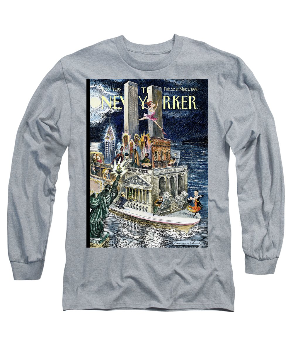 City Of Dreams Long Sleeve T-Shirt featuring the painting City Of Dreams by Edward Sorel