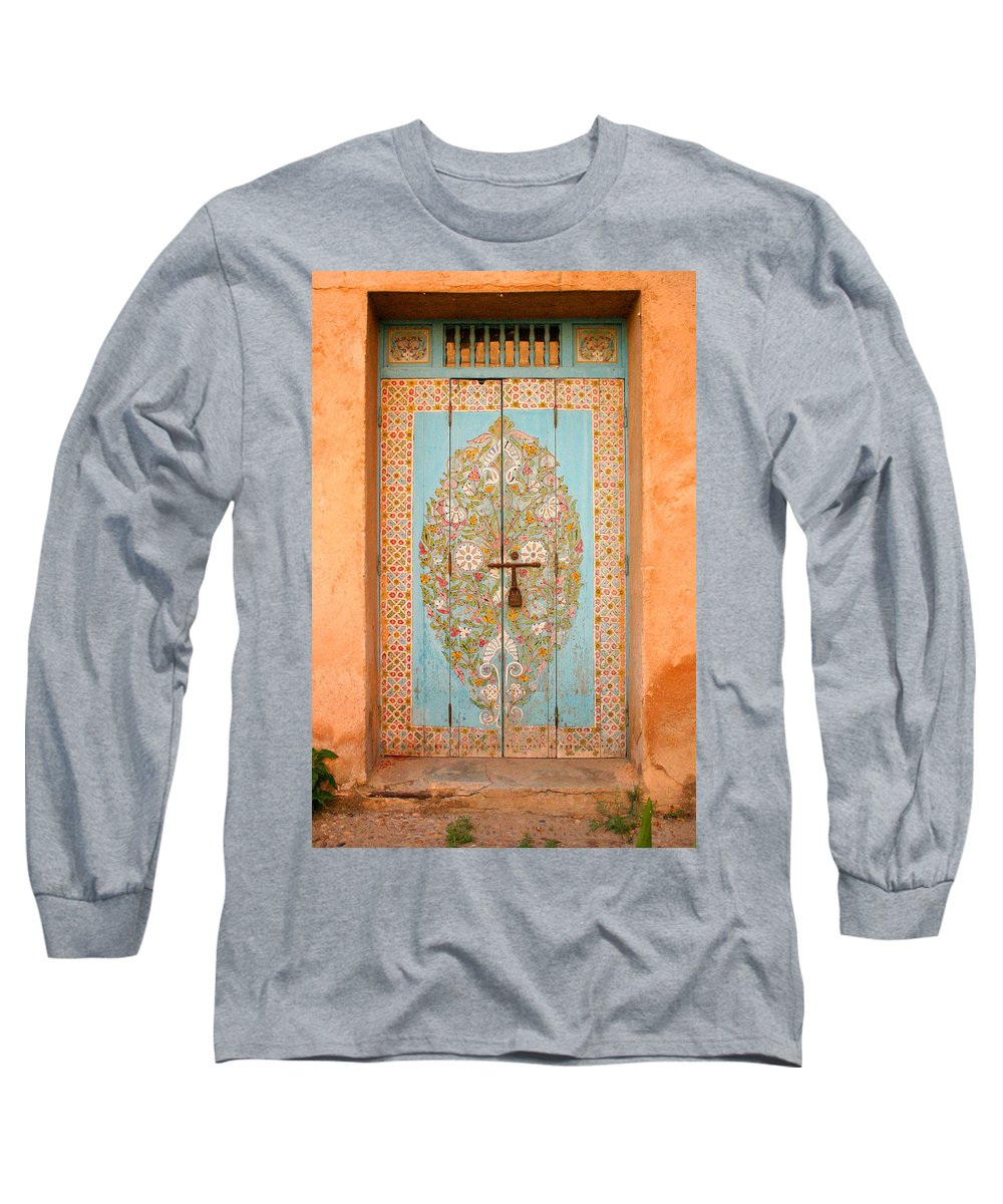 Door Long Sleeve T-Shirt featuring the photograph Colourful Moroccan Entrance Door Sale Rabat Morocco by Ralph A Ledergerber-Photography