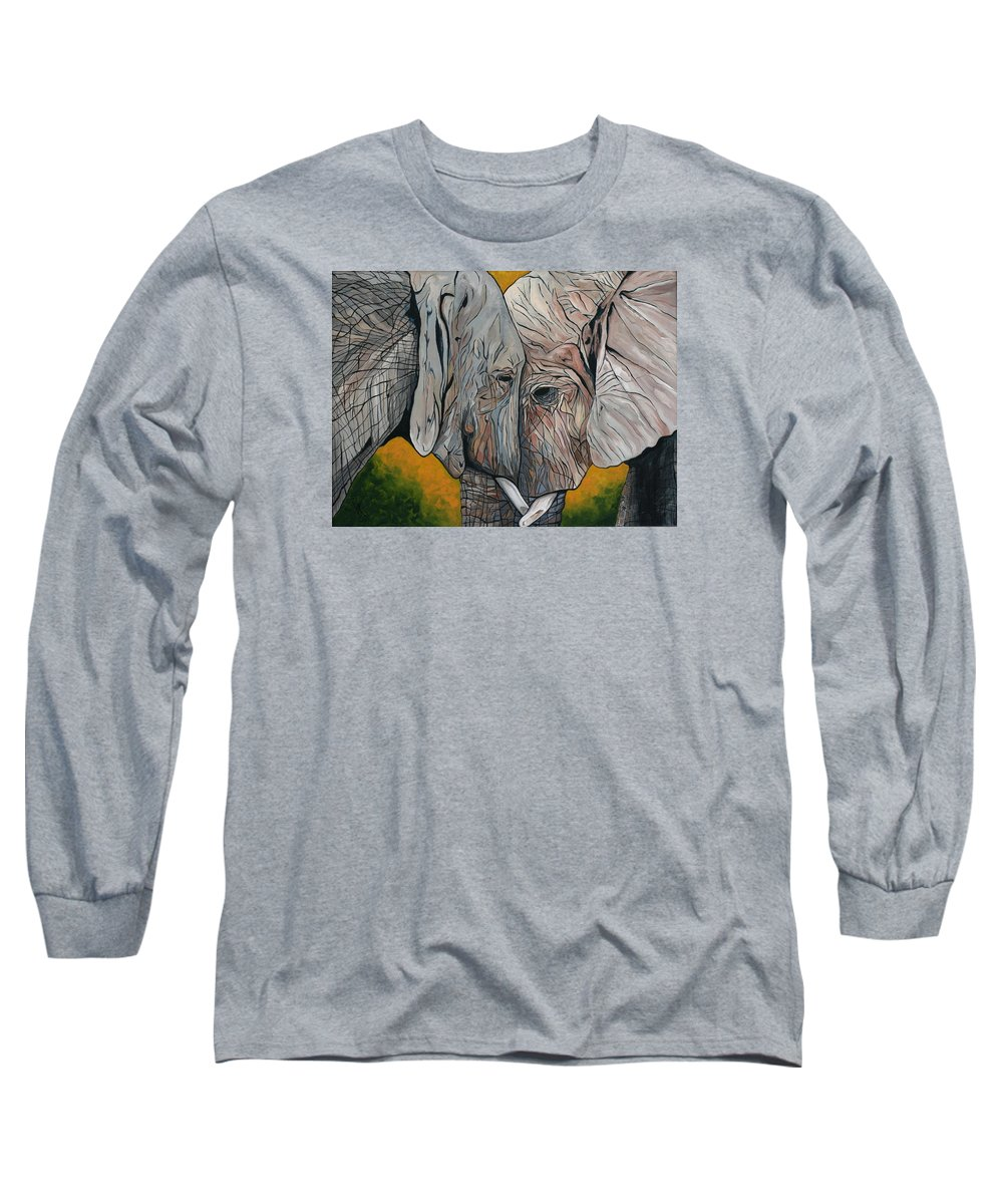 Elephant Long Sleeve T-Shirt featuring the painting Comfort by Aimee Vance