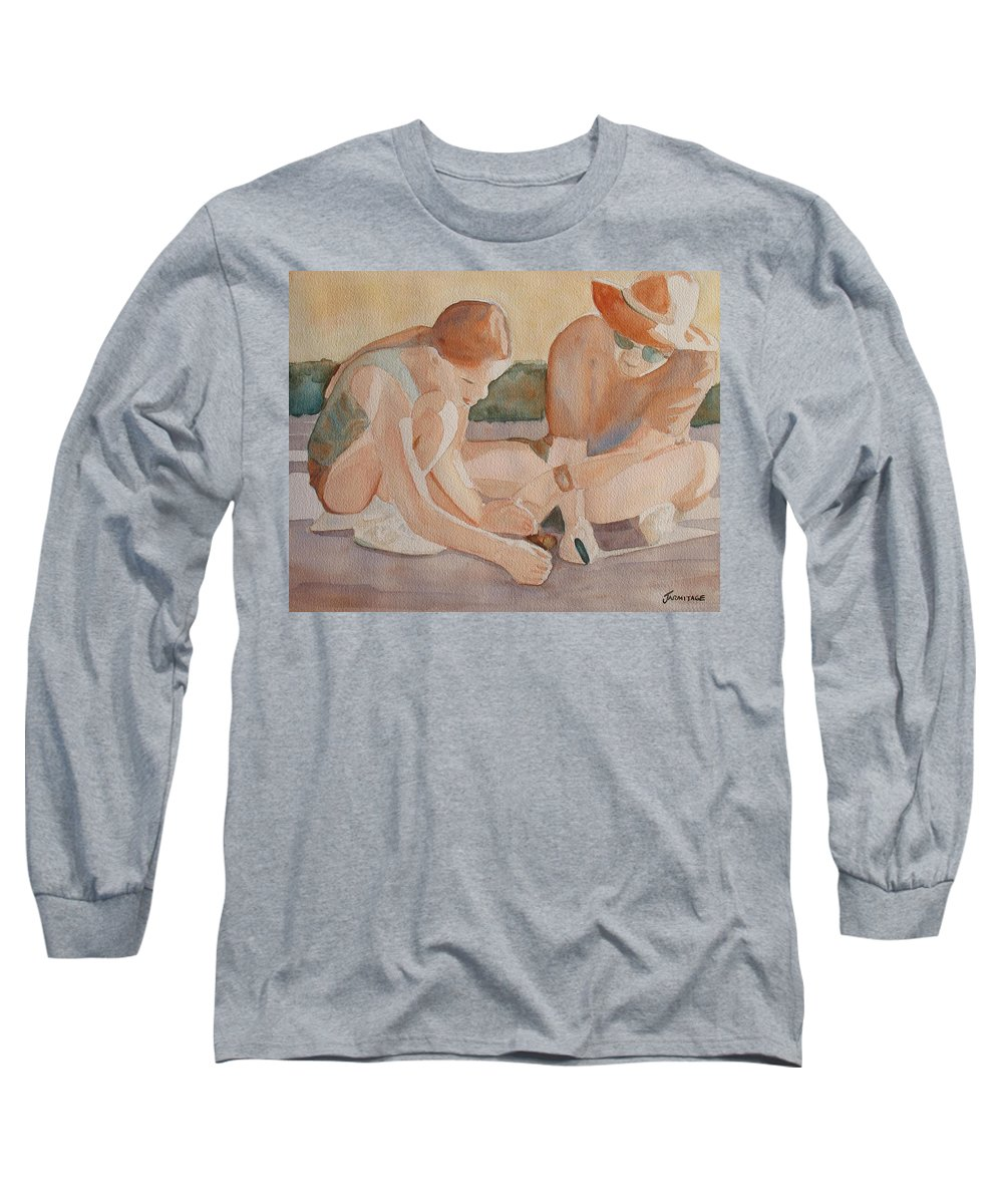 Girl Long Sleeve T-Shirt featuring the painting Daddy's Magnifying Glass by Jenny Armitage