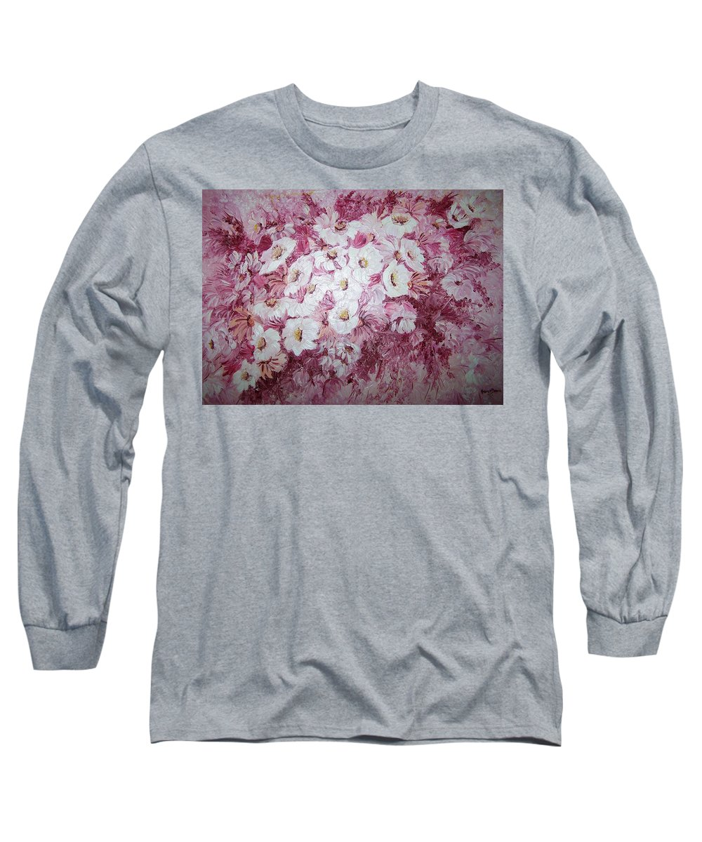 Long Sleeve T-Shirt featuring the painting Daisy Blush by Karin Dawn Kelshall- Best