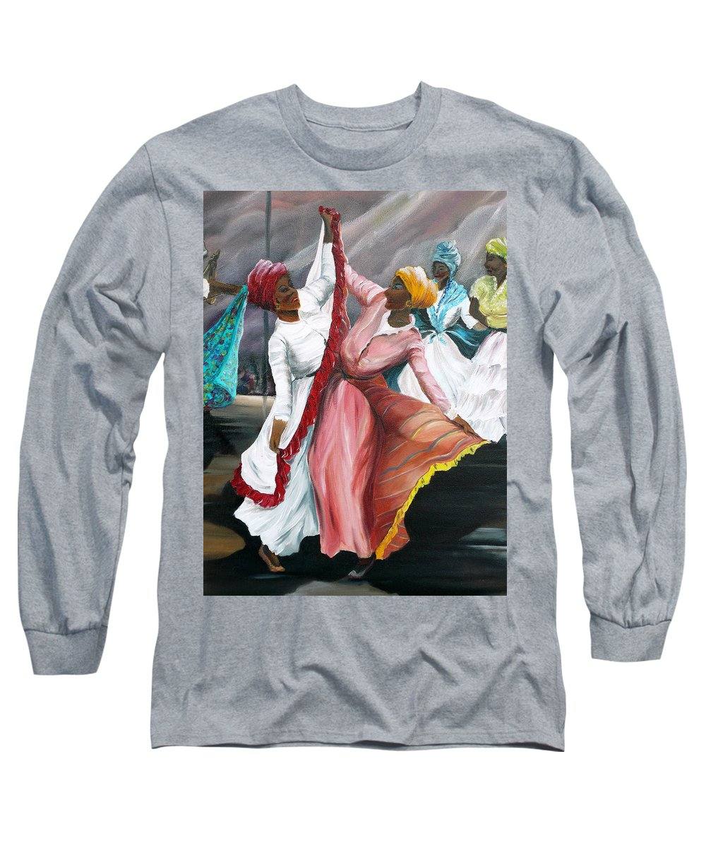 Dancers Folk Caribbean Women Painting Dance Painting Tropical Dance Painting Long Sleeve T-Shirt featuring the painting Dance The Pique 2 by Karin Dawn Kelshall- Best