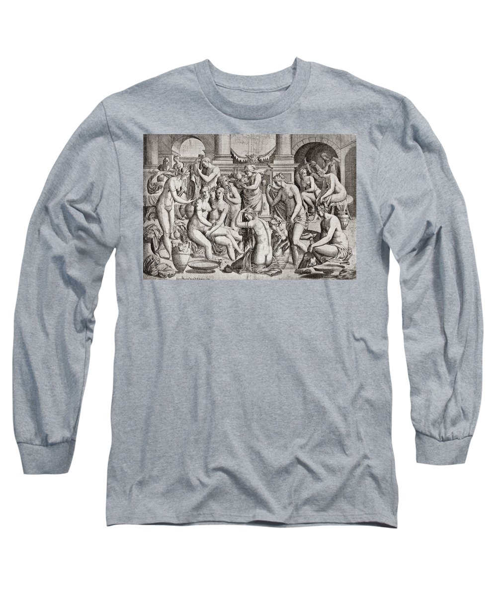 Orgy Long Sleeve T-Shirt featuring the drawing Das Frauenbad, Or The Womens Bath by Nicolas Nelli
