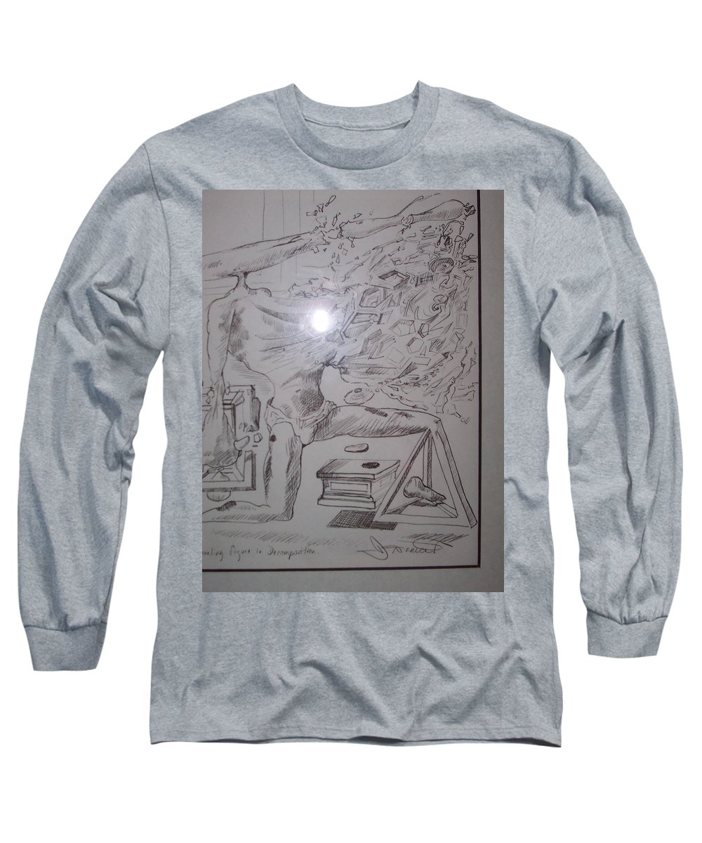 Long Sleeve T-Shirt featuring the painting Decomposition Of Kneeling Man by Jude Darrien