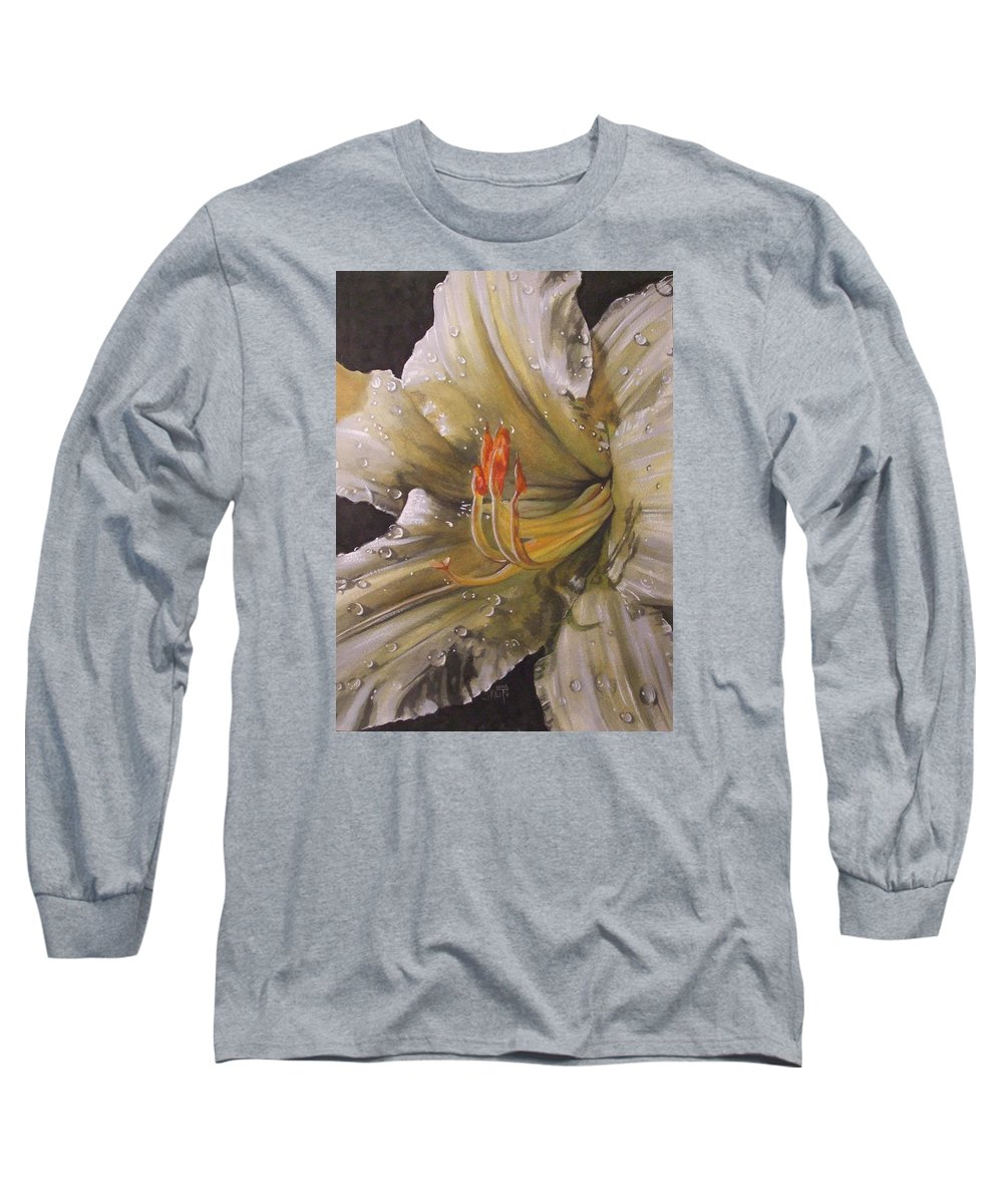 Daylily Long Sleeve T-Shirt featuring the painting Diamonds by Barbara Keith