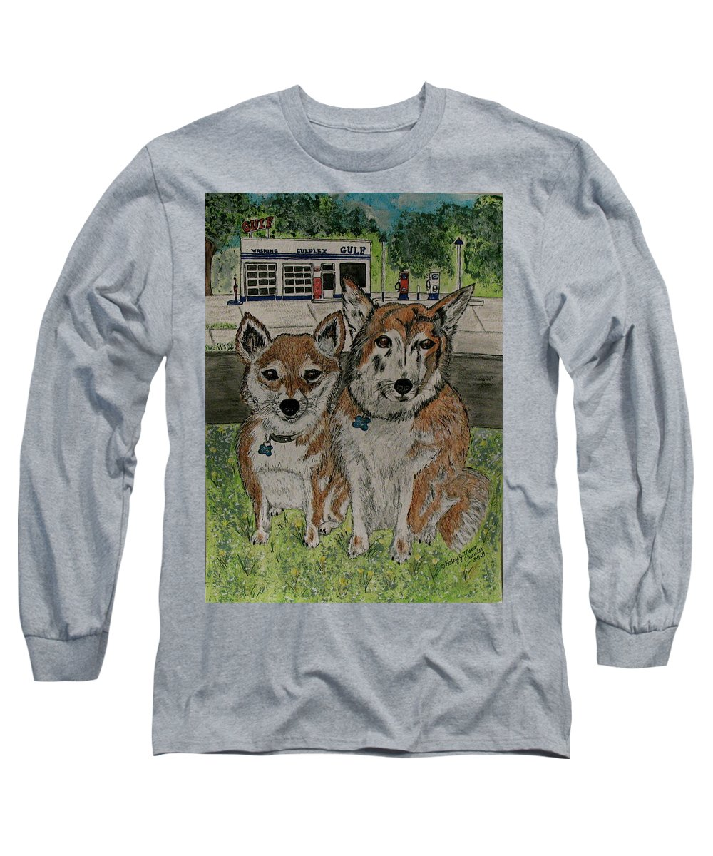 Dogs Long Sleeve T-Shirt featuring the painting Dogs In Front Of The Gulf Station by Kathy Marrs Chandler