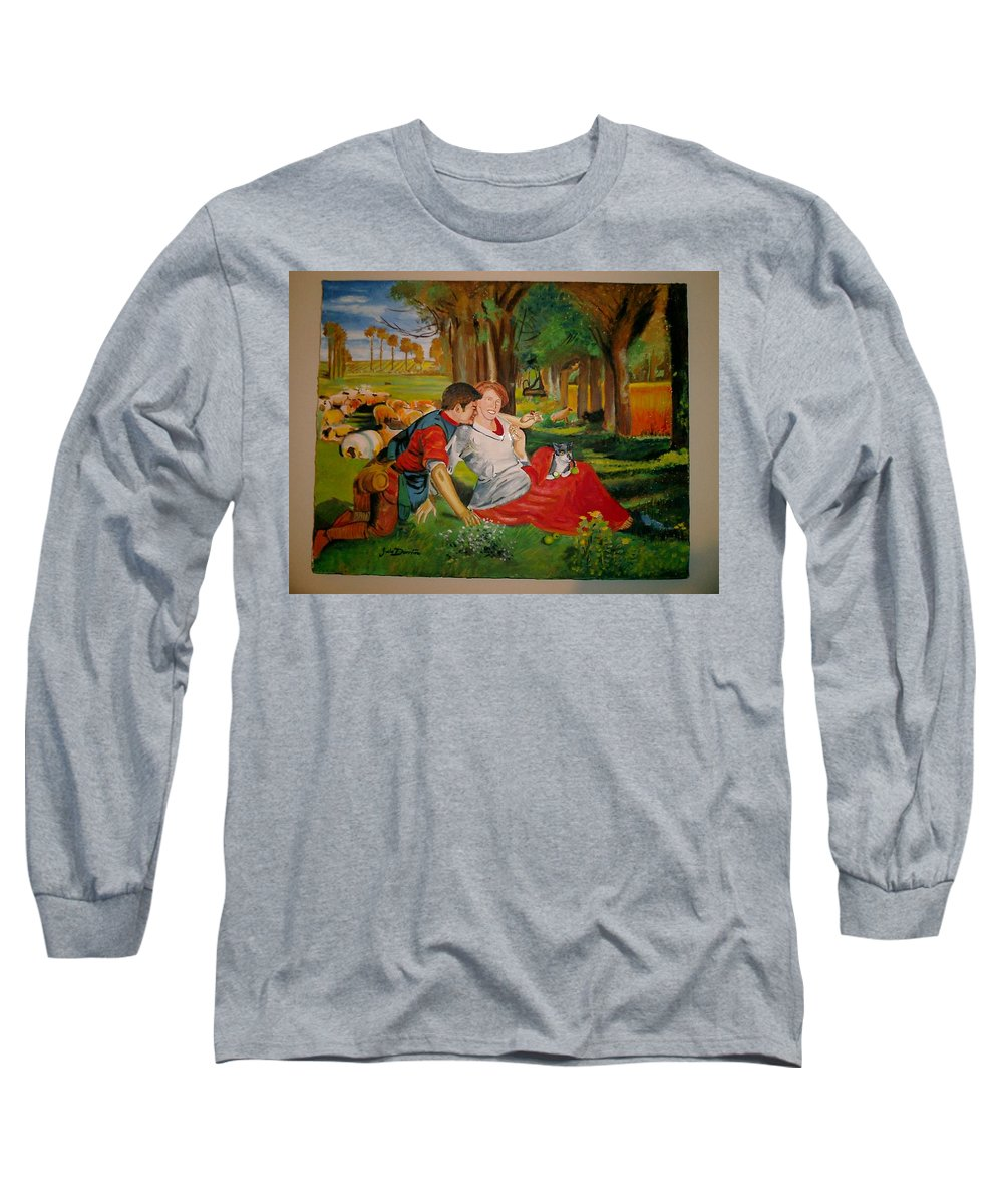 Long Sleeve T-Shirt featuring the painting double portrait of freinds Gunner and Jessie by Jude Darrien