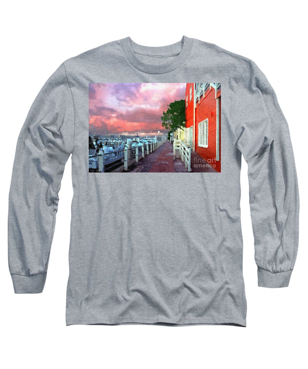 Fisherman's Village Marina Del Rey Ca. Sunset Long Sleeve T-Shirt featuring the photograph Fisherman's Village Marina Del Mar Ca by David Zanzinger