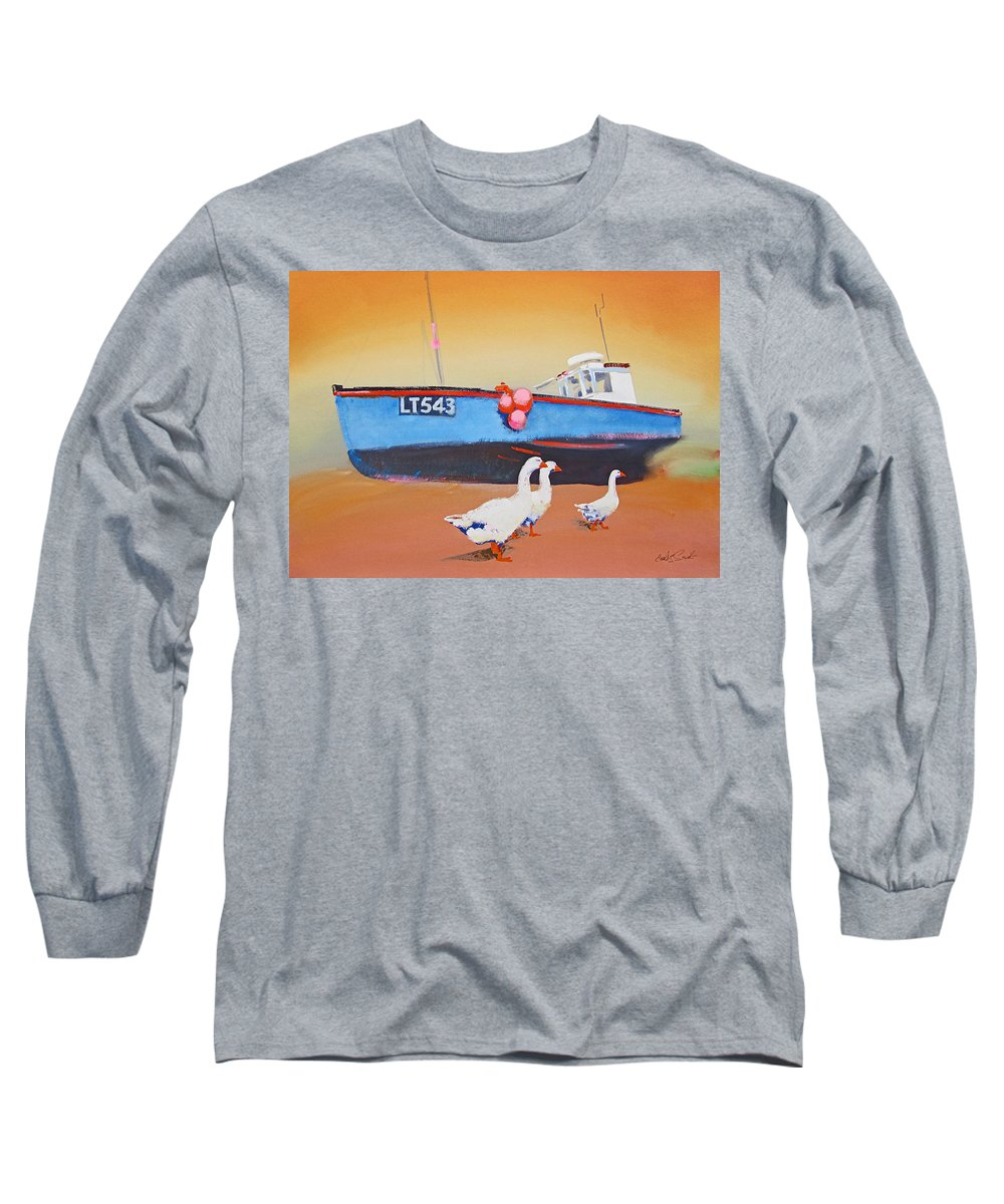 Geese Long Sleeve T-Shirt featuring the painting Fishing Boat Walberswick With Geese by Charles Stuart