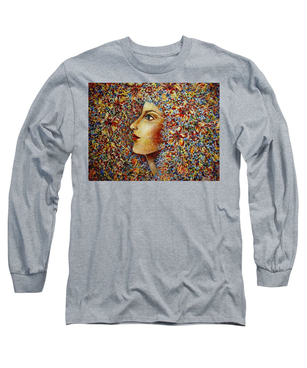 Flower Goddess Long Sleeve T-Shirt featuring the painting Flower Goddess. by Natalie Holland