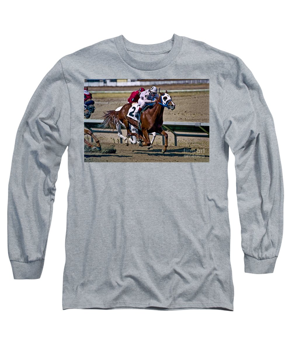 Racing Long Sleeve T-Shirt featuring the photograph Flying Hooves by Kathy McClure
